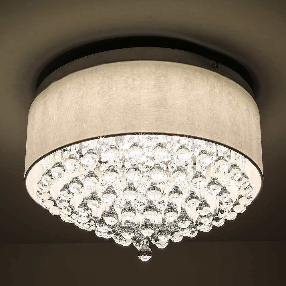 Horisun Modern Crystal Pendant Light with Cylinder Shade 2640LM Dimmable LED Flush Mount Lighting Drum Style Ceilignt Light for Dining Room, Bedroom, Living Room, ETL Listed