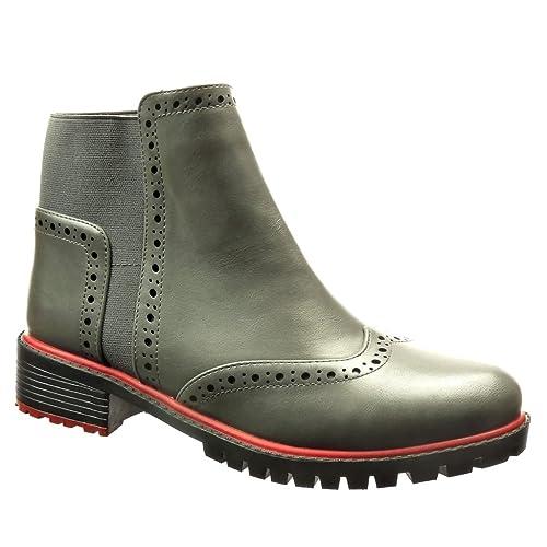 Angkorly - Zapatillas de Moda Botines zapato derby chelsea boots mujer perforado Talón Tacón ancho 3.5 CM - Gris: Amazon.es: Zapatos y complementos