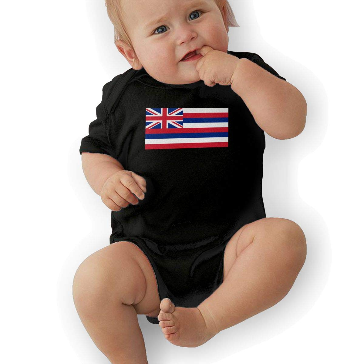 U88oi-8 Short Sleeve Cotton Rompers for Baby Boys and Girls Fashion Hawaii Flag Playsuit
