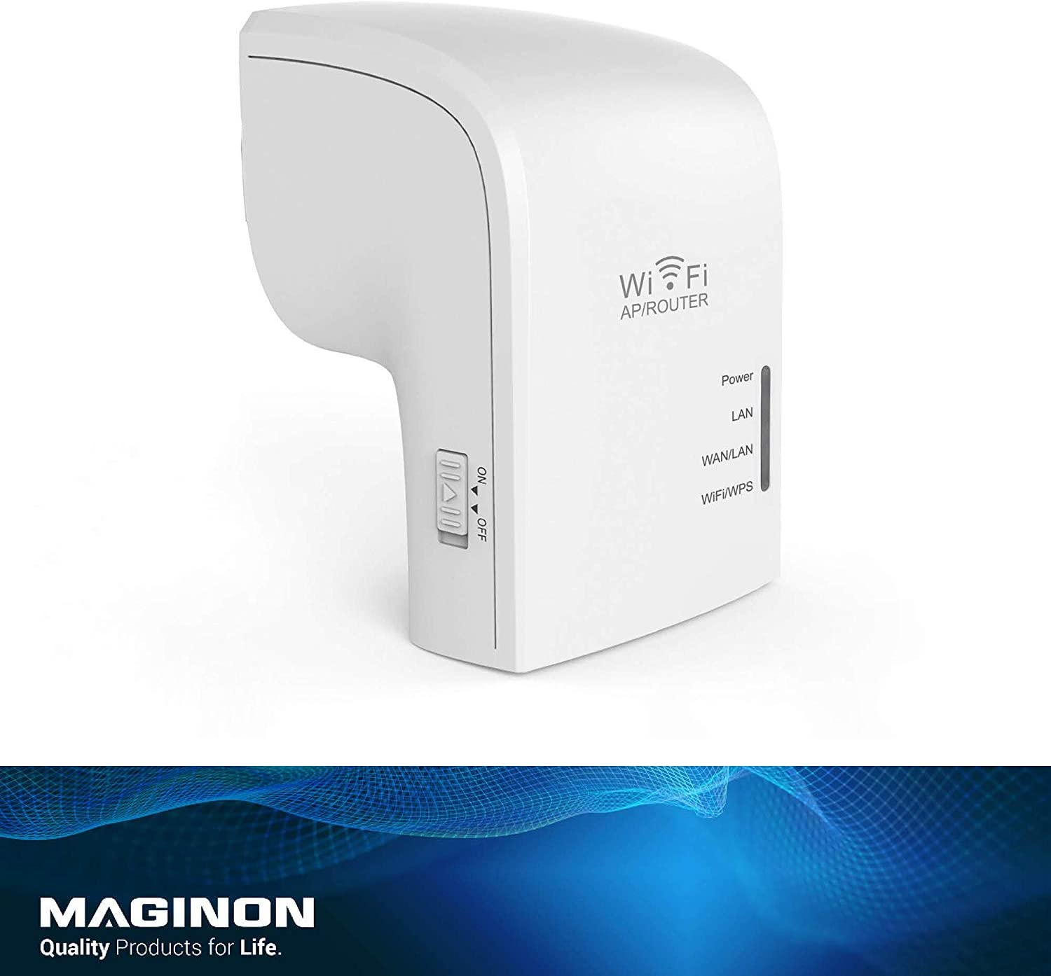 Maginon WLR755AC Wireless WiFi Signal Range Repeater - Dual Band, 5ghz/433mbps & 2.4ghz/300mbps (733mpbs total) - Portable Extender with Ethernet Port, Router, Access Point - Internal Antenna