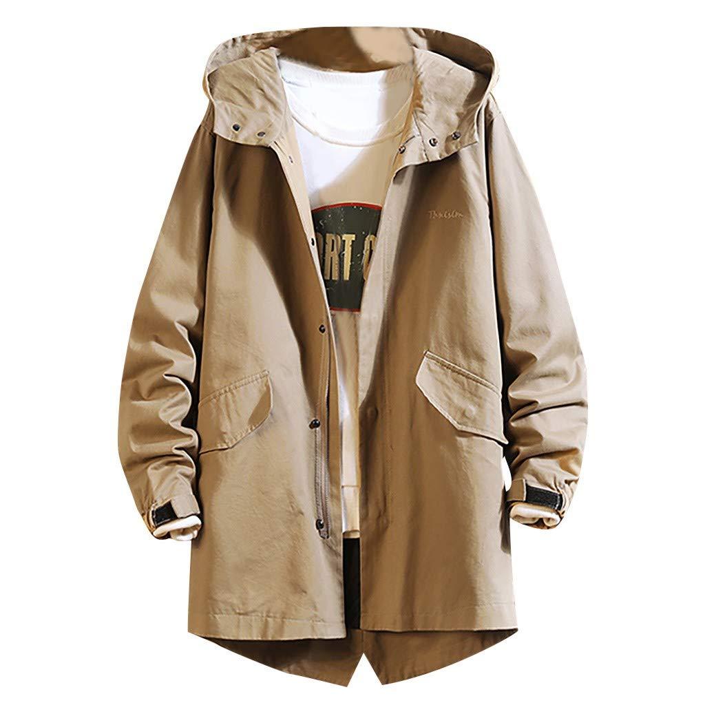 wuliLINL Men's Autumn Spring Hooded Jacket Slim Fit Casual Jacket Zipper Solid Color Coats Outwear(Khaki,XXL) by wuliLINL
