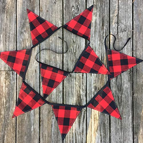 - Buffalo Plaid Black and Red Flannel Handmade Holiday Banner 9 ft