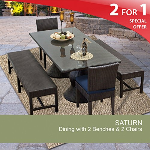 Saturn Rectangular Outdoor Patio Dining Table With 2 Chairs and 2 Benches