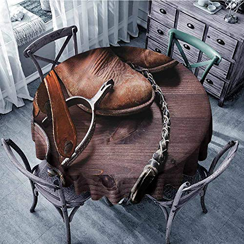 ScottDecor Overlays Round Tablecloth Western,Authentic Old Leather Boots and Spurs Rustic Rodeo Equipment USA Style Art Picture Print,Brown Table Cover Diameter 36