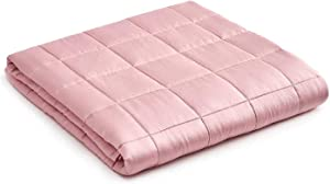YnM Bamboo Weighted Blanket — 100% Natural Bamboo Viscose Oeko-Tex Certified Material with Premium Glass Beads (Pink, 60''x80'' 15lbs), Suit for One Person(~140lb) Use on Queen/King Bed