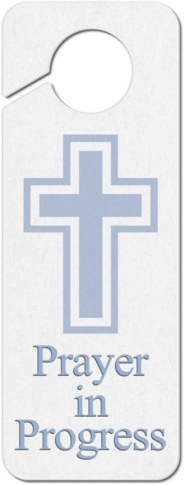 Graphics and More Prayer in Progress Religious Cross Plastic Door Knob Hanger Sign