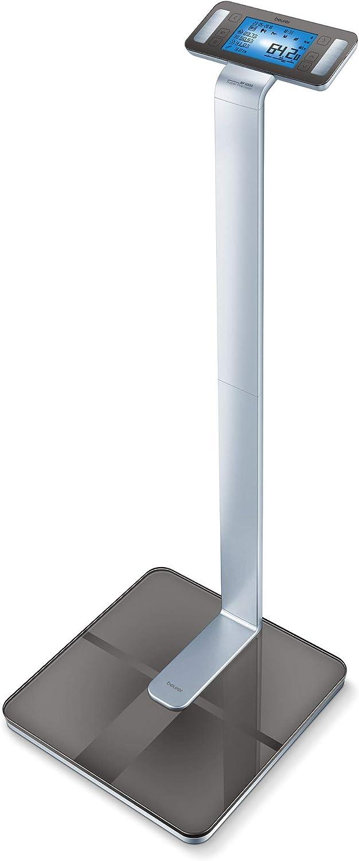 Beurer BF1000 - Báscula diagnóstica Bluetooth, báscula de baño, corporal, compatible con la App en español, 8 electrodos para zona inferior y superior, Android y iOs, silver negro: Amazon.es: Salud y cuidado