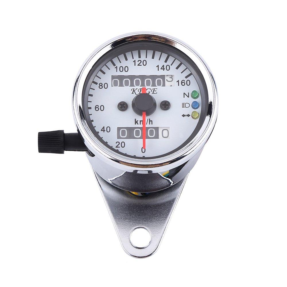 Qiilu Universal Motorcycle Dual Odometer Speedometer Gauge LED Backlight Signal Digital Display KM/H (Black)