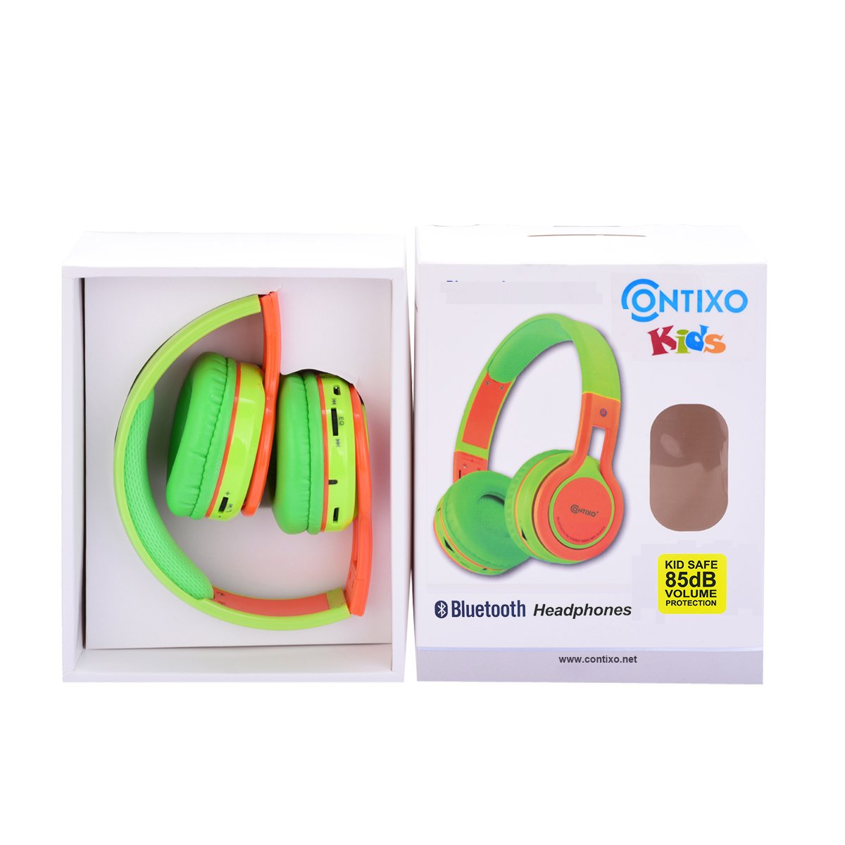 Amazon.com: Contixo KB2600 Kid Safe 85db Foldable Wireless Bluetooth Headphone Built-in Microphone, Micro SD Card Music Player, FM Stereo Radio (Green ...