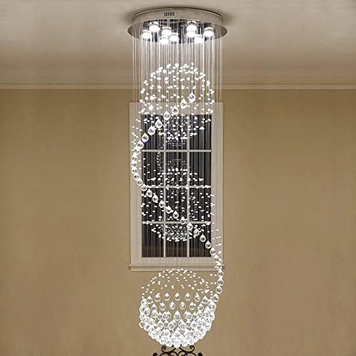 SEFINN FOUR 3 Flush Mount Light LED Spiral Sphere Rain Drop Crystal Chandelier