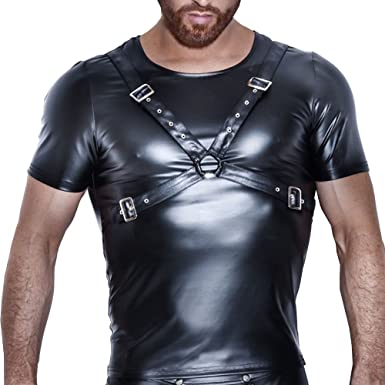 30be6a024 Eastlion Men Sexy Patent Leather Tight Wetlook NightClup Clubwear Bodycon  Tight Muscle T-Shirts: Amazon.co.uk: Clothing