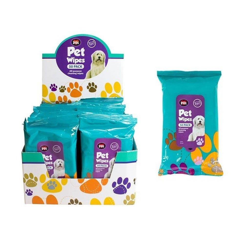 Paquete de 50 toallitas húmedas para limpieza de mascotas; para orejas, patas, cuerpo y cabeza de perros y gatos: Amazon.es: Productos para mascotas