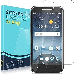 Zeking [2-Pack] ZTE Maven 3 Z835 Tempered Glass Screen Protector, Prestige 2 N9136/ Prelude Plus Z833 Trio Glass 2.5D Edge 9H Hardness [Anti Scratch][Anti-Fingerprint]