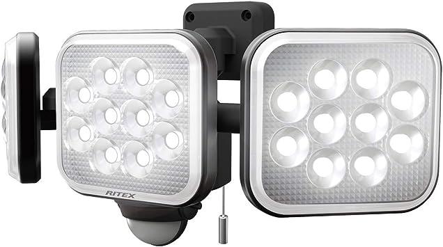 ムサシ(MUSASHI) センサーライト ブラック 本体サイズ: 幅 32.2 × 奥行 15 ×高さ 13.5 cm 14W×3灯フリーアーム式LEDセンサーライト LED-AC3042