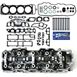 CNS 1201-LHSHBSI New Complete Cylinder Head (Loaded), Head Gasket Set, Head Bolts, & RTV Silicone for 1985-95 Toyota Pickup 4Runner Celica 2.4L 22RE 22REC