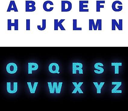 Cobear 26x Hoch Intensives Reflektoren Aufkleber Selbstklebend Für Lkw Auto Motorrad Boot Fahrrad Anhänger Helm Taschen Buchstabe A Z Typ Blau Auto