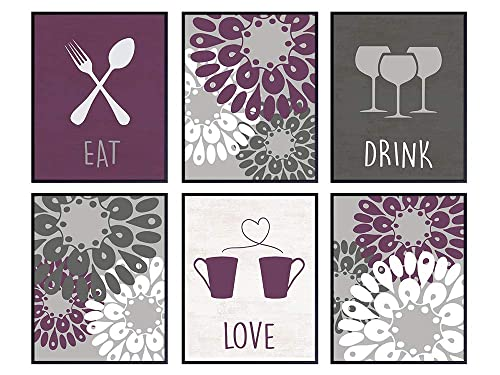 Amazon Com Dining Room Kitchen Decor Cafe Or Restaurant Wall Art Prints Boho Farmhouse Decoration Posters 8x10 Unique Gift For Cook Chef Gourmet Purple Plum Pictures Eat Drink Love Handmade