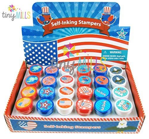 TINYMILLS 24 Pcs Patriotic I Love USA Stampers for Kids - Flag Stamp
