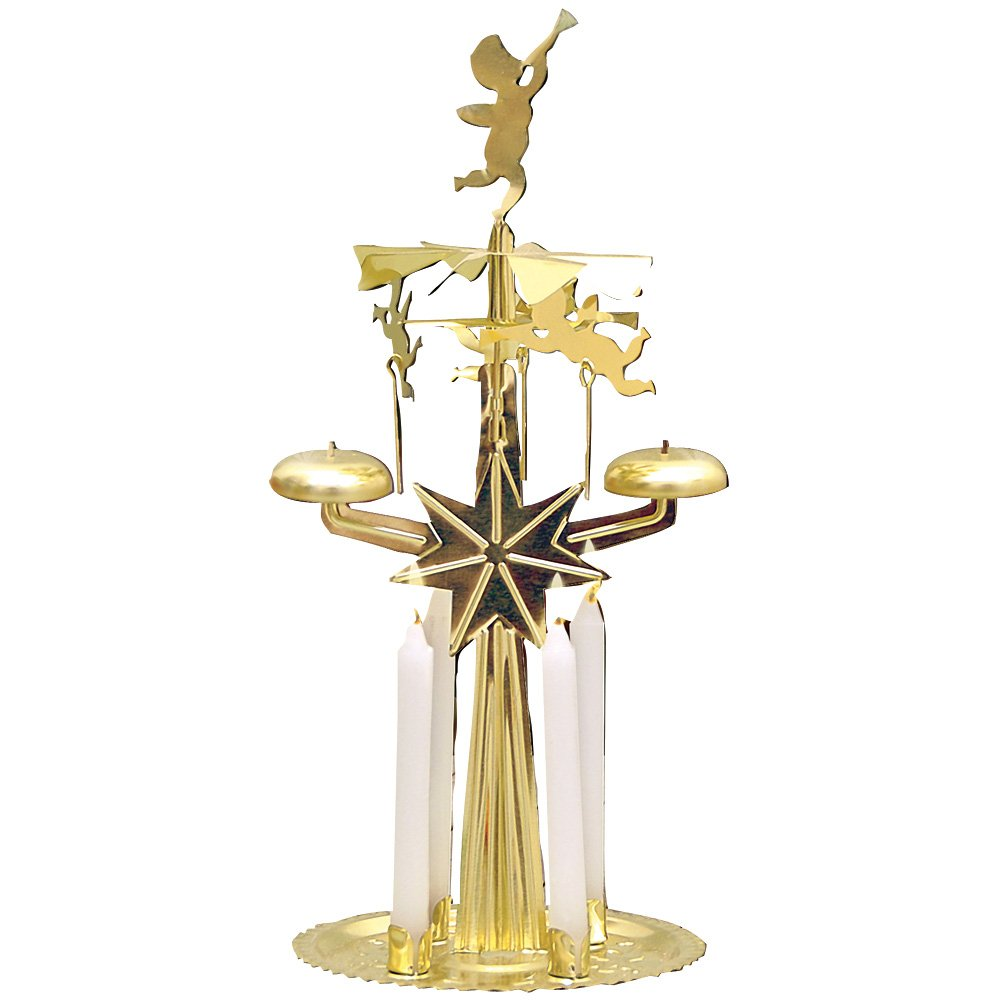 Kurt Adler Christmas Swedish Angel Chimes - Gleaming Plated Metal w/4'' Festive Candles
