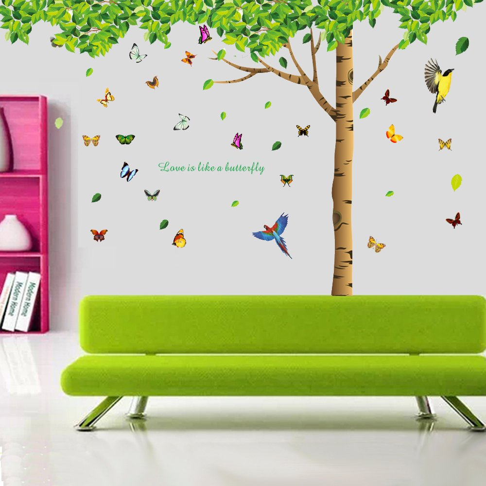 colorful decals 7 4 h x 9 7 w more attachments for colorful decals 7 4 h x 9 7 w more attachments for butterflies extra large wall decor under the fresh green leaves quote green tree to enjoy easy and