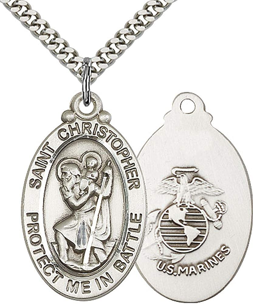 Pewter Saint Christopher Protect Us Medal Pendant