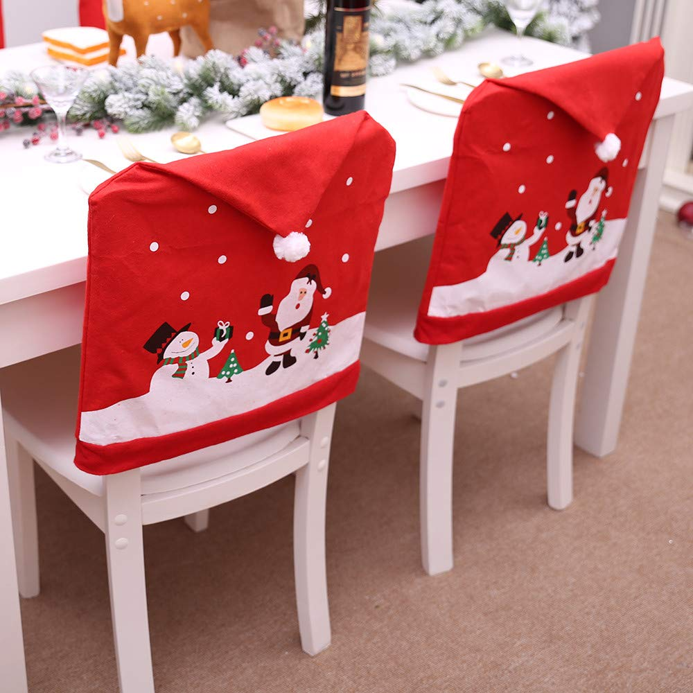 Euone 🦄 Cutter Mold, 3 PCS Santa Claus Table Chair Covers Christmas Holiday Home Kitchen Decoration