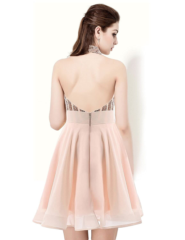 34cc2c69e5782 Jicjichos Women's Halter Sequin Homecoming Dresses 2017 Short Prom Gowns  J033 at Amazon Women's Clothing store: