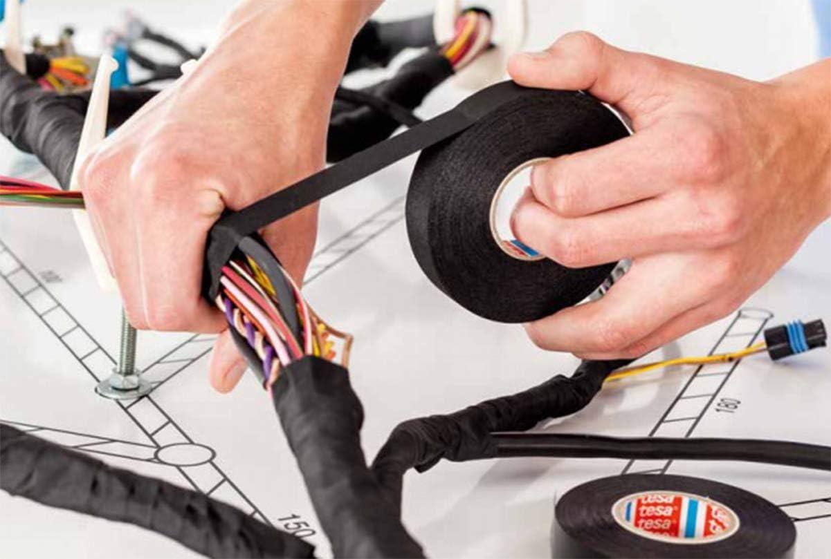 Liuer 2pcs Schwarz Isolierband Kfz Auto Kabelbäume Gewebeband Bpet Vlies Aumwolle Klebeband Reißfest Für Kabelbäume Baumwolle Klebeband 19mm X 15m 25mm X 15m Baumarkt