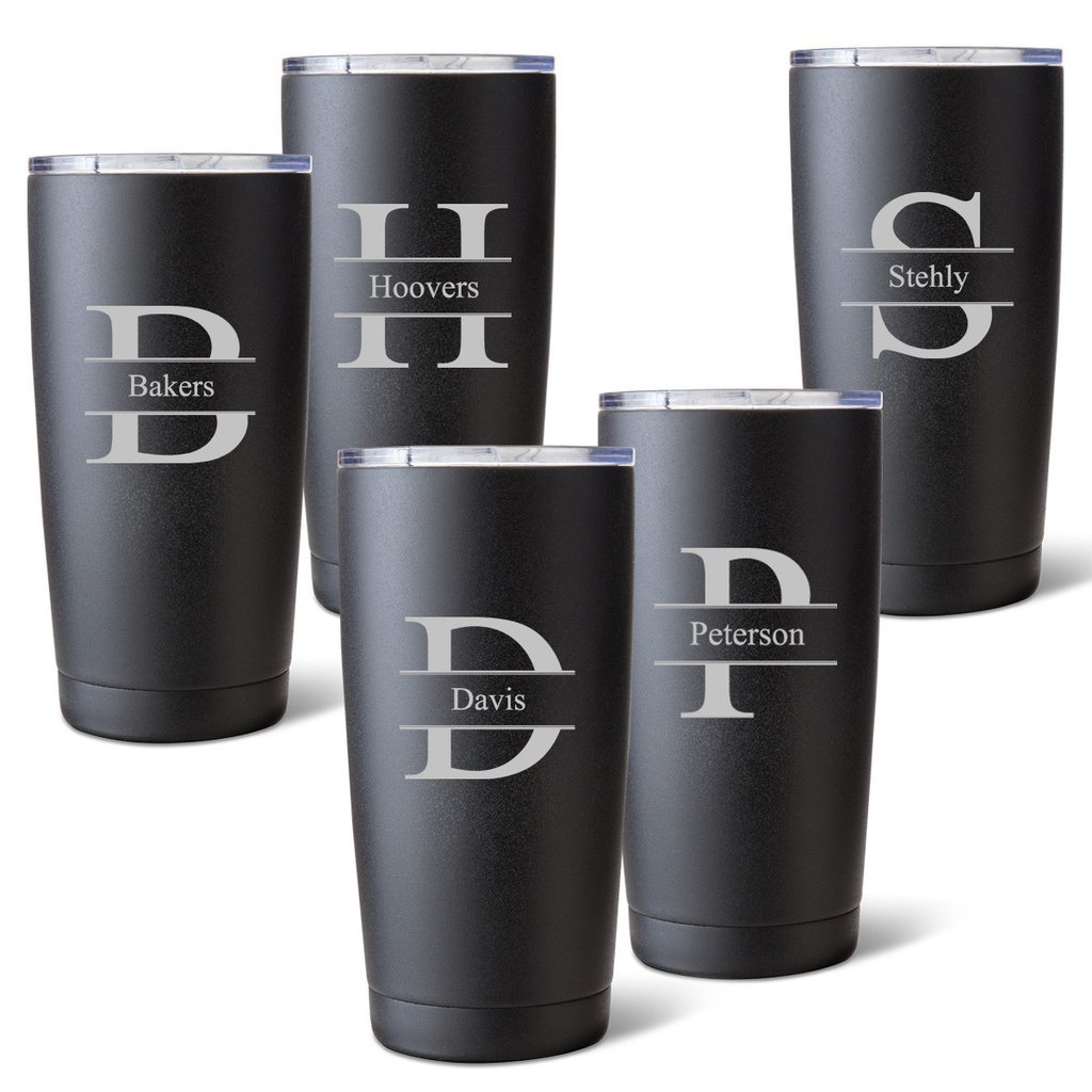Personalized Set of 5 Black Matte 20oz Monogrammed Stainless Steel Tumblers by A Gift Personalized