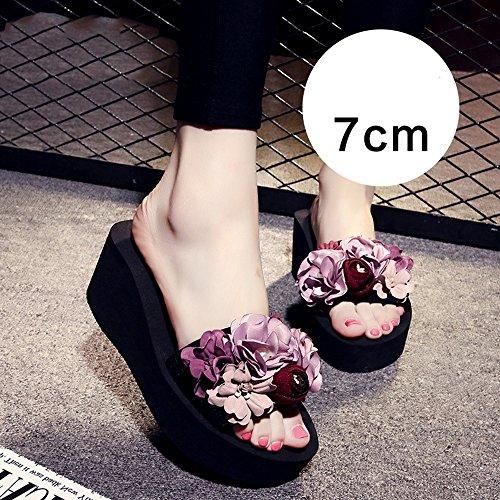 Chanclas MEIDUO sandalias 3cm/7cm zapatillas de verano/Mujer antideslizantes zapatos/ocio sandalias/sandalias/zapatillas gruesas hechas a mano para 18-40 años de edad cómodo 7cm-Pink