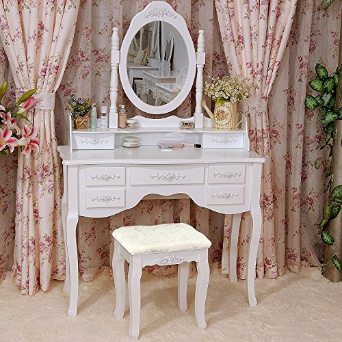 Tribesigns Wood Makeup Vanity Table Set with 3 Mirror & Stool Bedroom Dressing Table