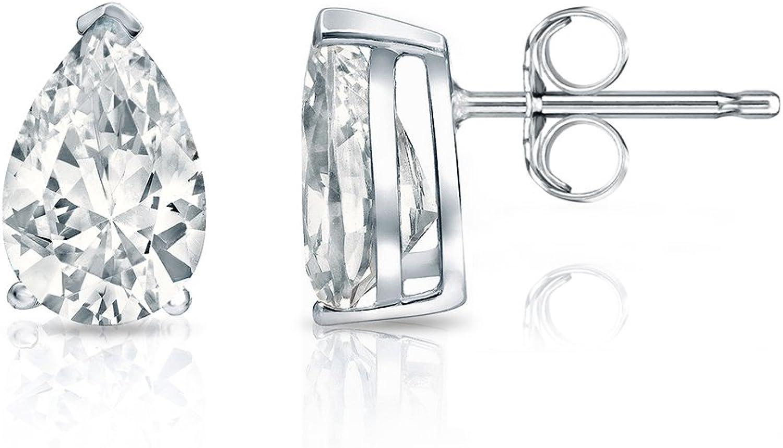 14k White Gold Pear Shape Diamond Stud Earrings V-End Prong (0.60 cttw, G-H, SI1-SI2) 61W7CzPvjsLUL1500_