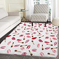 Cosmetics Area Rug Carpet Beauty Theme Pink and Burgundy Lipstick and Kiss Pattern Makeup Concept Customize door mats for home Mat 3x5 Burgundy and Pink