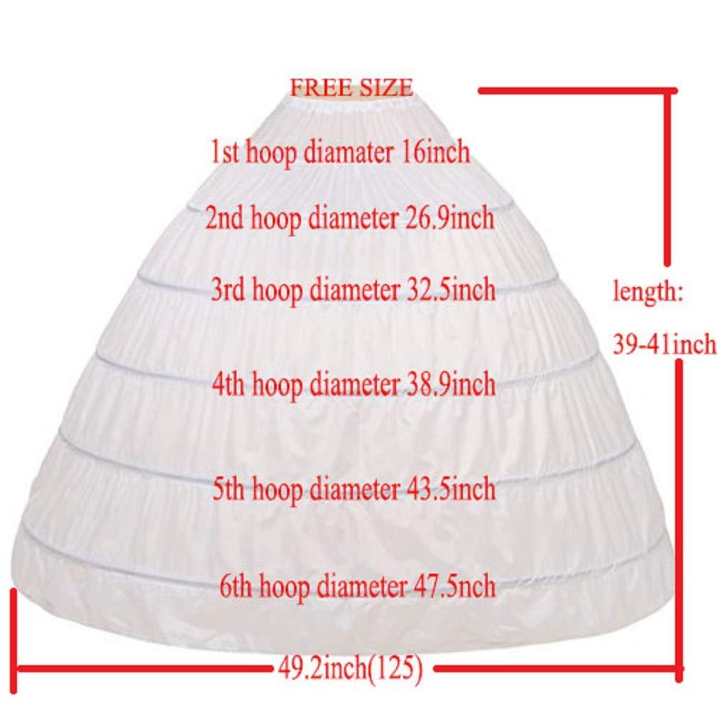 Noriviiq Womens 6 Hoop Skirt Floor Length Crinoline Petticoat for Quinceanera Dress