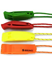 HOLDALL Emergency Whistle with Lanyard(4 pack), Safety Whistle for Outdoor Distress Survival Kayak Boating & Signaling