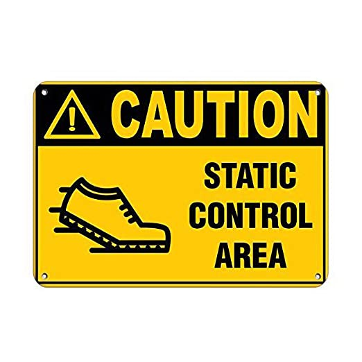Tarfy Caution Static Control Area Hazard Sign Hazard Labels ...