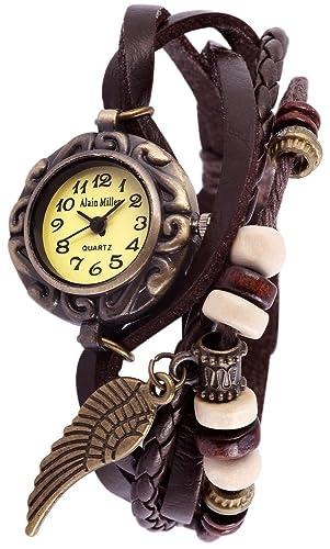 Alain Miller Mujer Reloj Reloj de pulsera verde menta pulsera de piel marrón oscuro rp3705780002: Amazon.es: Relojes
