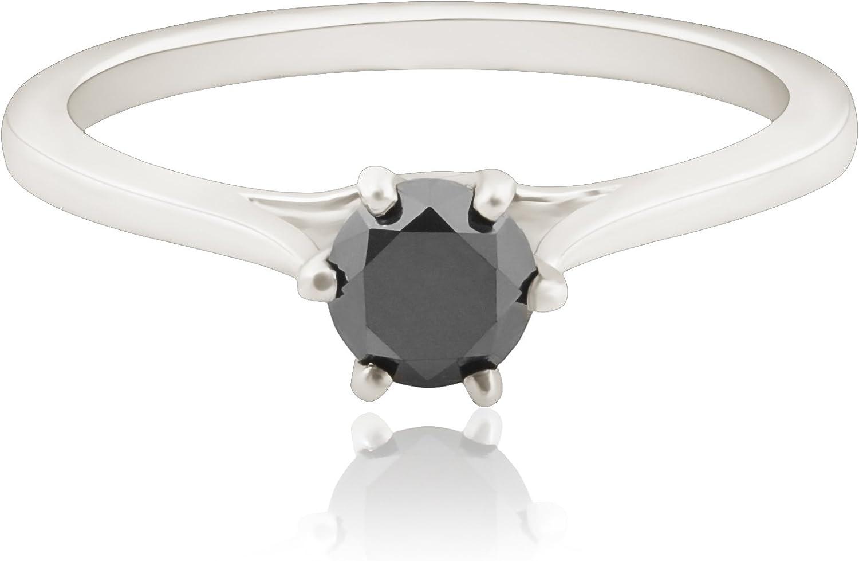 Prism Jewel Six Prong Set 0.28Ct Black Diamond Solitaire Engagement Ring