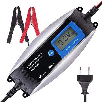 ISSYZONE Cargador Bateria Coche 6V/12V 0,8A-4A Mantenedor ...