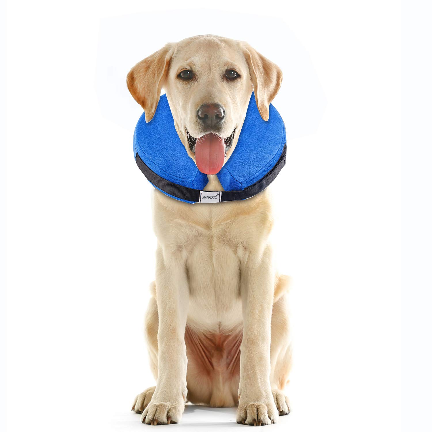 UMARDOO Inflatable Dog Cone Collar After Surgery,Pet Recovery Collar for Dogs Wound Healing with Adjustable Strap (Blue Cone-L) by UMARDOO