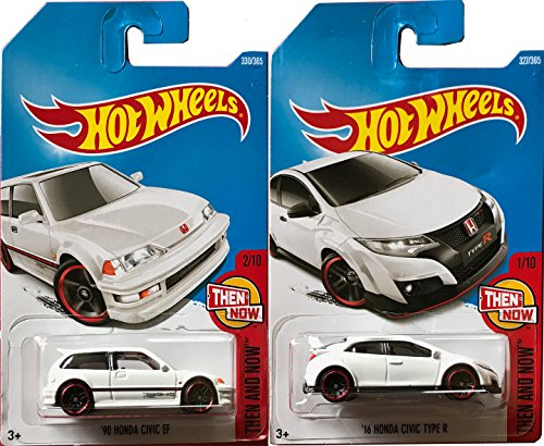 Honda Civic miniature car die-cast collectibles Hot Wheels New Casting #327 Type R & '90 Model Civic EF white in PROTECTIVE CASES