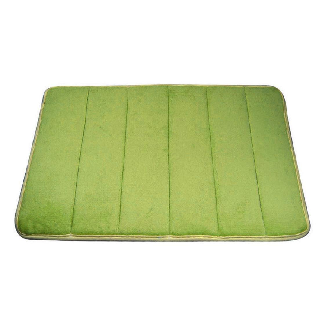 Coromose Rugs Vertical Stripes Memory Foam Bath Mat Carpet Floor Mats (Green)