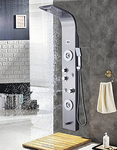 Superieur ELLOALLO Stainless Steel Shower Panel Tower System,LED Rainfall Waterfall  Shower Head 6 Function Faucet Rain Massage System With Body Jets  Fingerprint Free, ...