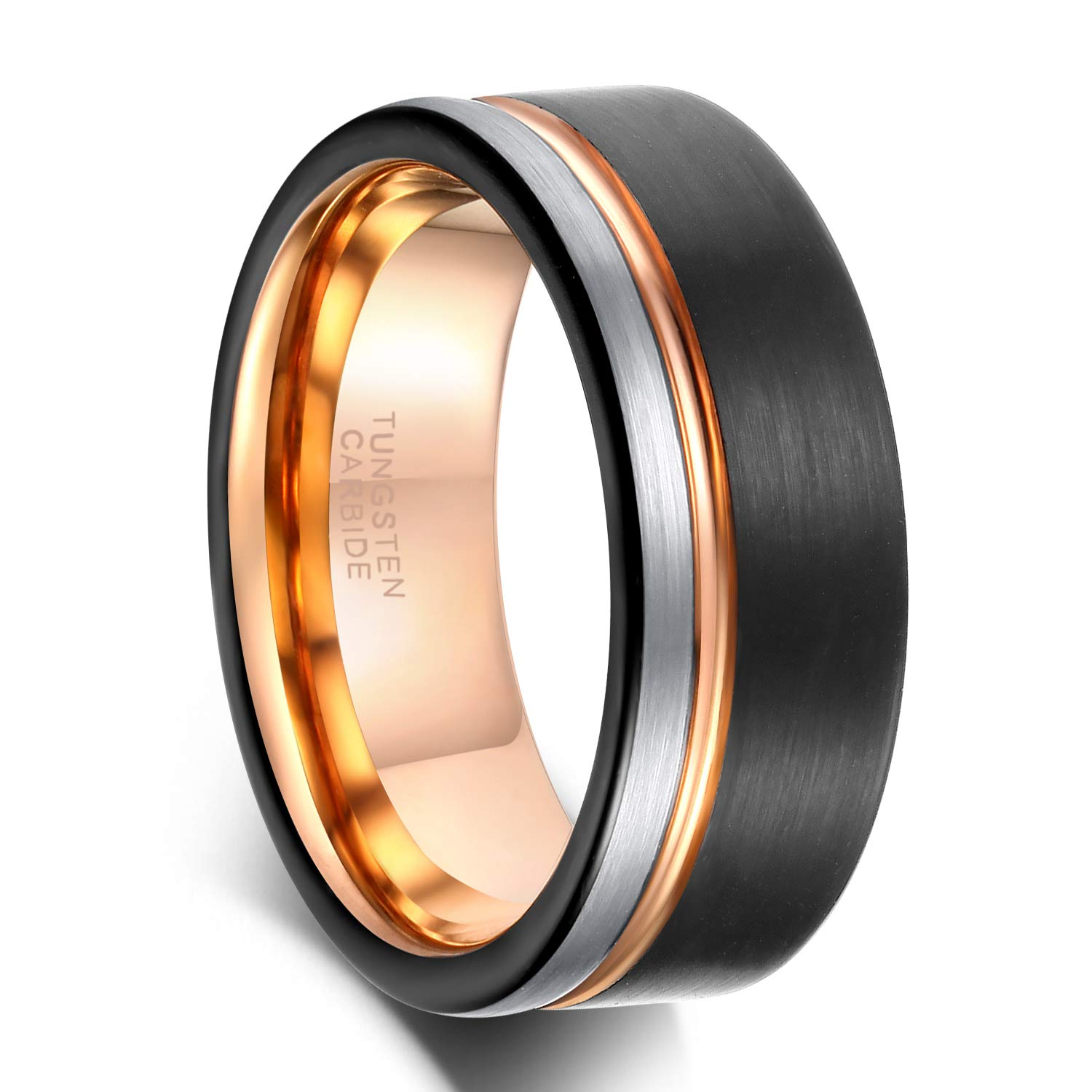 8mm Tungsten Carbide Wedding Ring Band for Men Women Blue Grooved Line Two Tone Brushed Comfort Fit Size 12