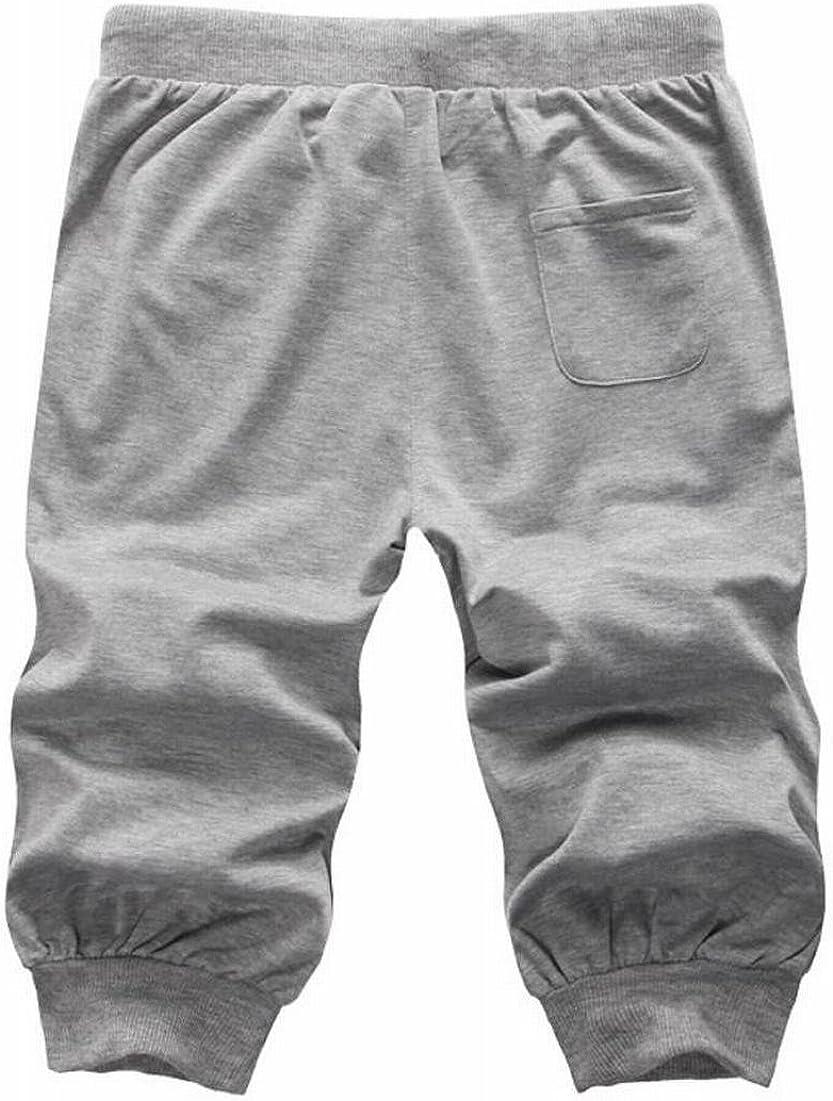 Hmarkt Mens Casual Elastic Waist Workout Gym Bottom Capri Pants Run Shorts