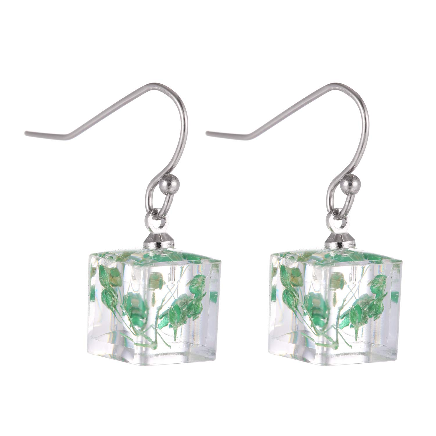 FM FM42 Blue Pink Red Yellow Dried Natural Flowers 0.35 Small Simulated Resin Square Cube Drop Hook Earrings 4 Colors