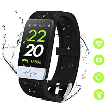 Reloj Inteligente Pulsera Actividad Fitness Tracker con Pulsómetro,Monitor de Sueño de Presión Arterial,Podómetro,Contadores de Calorías IP67 Pulsera ...