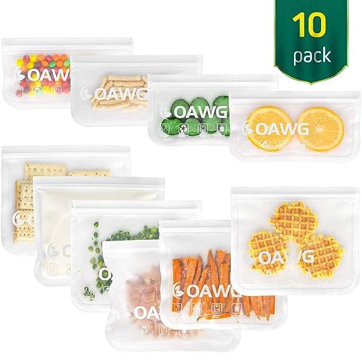 COAWG Bolsas de Almacenamiento para Alimentos Reutilizables, (6 Bolsas de Sándwich + 4 Bolsas de Refrigerios)Sello Congelador Transparente Bolsas de ...