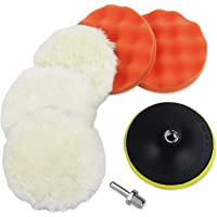 Coceca - Juego de 7 almohadillas de pulido de 15 cm, juego de pulido de esponja y lana con adaptador de taladro M14