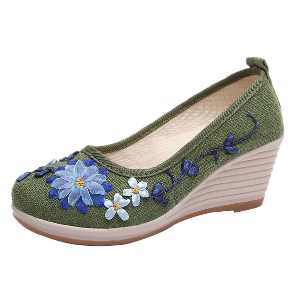 Lazzboy Damen Ethnischer Stil Flachs mit Gesticktem Rib Bottom Casual Schuhe  37 EU|Gr眉n